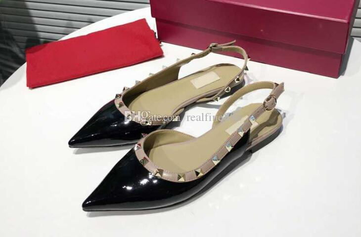 5A 6502170 Flats Ballets Ballerina Patent Leather Studs Slingback Shoes,ankle straps,Adjustable Ankle buckle,Size 34-41,DHL Free Shipping