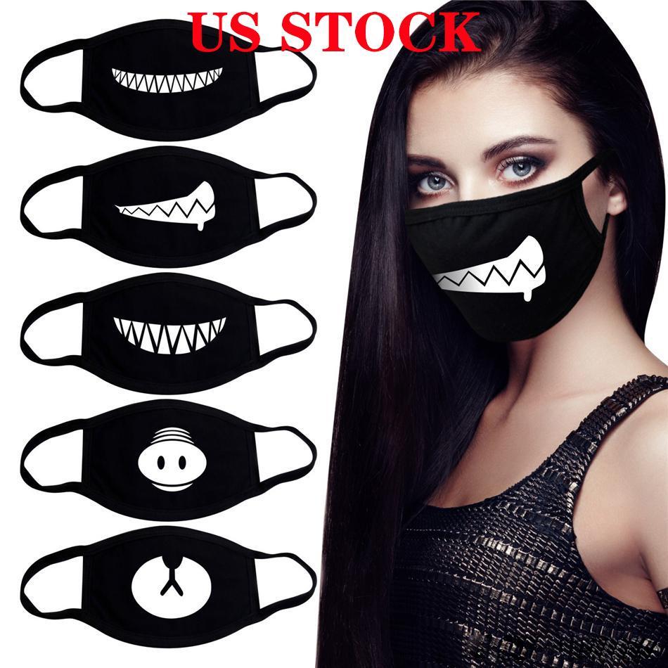 US Lager! Cotton Plaid Striped Face Mask verdicken Warm staubdicht (Party-Masken-windundurchlässige Waschbar Wiederverwendbare Anti-Staub Hochzeit Masken