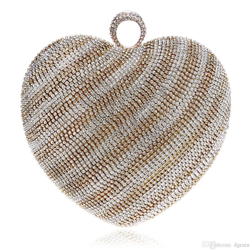 Prominente frauen Herzform Kristall Clutch Handtasche und Geldbörse Damen Gold Abend Hochzeit Geldbörse Kette Umhängetasche Wristlet Bag Bolas