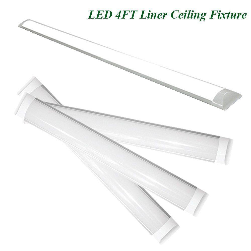 5Pack 44W LED Batten Linear Slimline Ceiling Light Cool White fixture Tube 4ft
