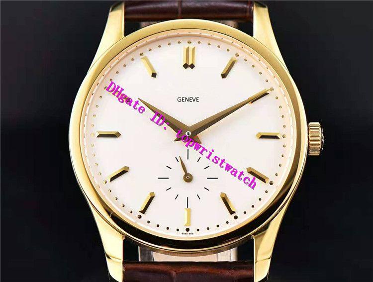 AIF New CALATRAVA 5196 роскошные часы Swiss A23J ручной завод механический сапфировое стекло запас хода 18 карат золото наручные часы Кожаный ремешок