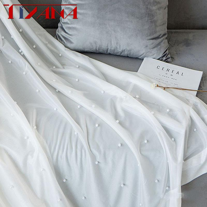 Luxury Beaded Pure White Tulle Curtain For Living Room Bedroom Bay Window Balcony Pure White Yarn Custom Sheer Curtains PanelT216#4 Y200421