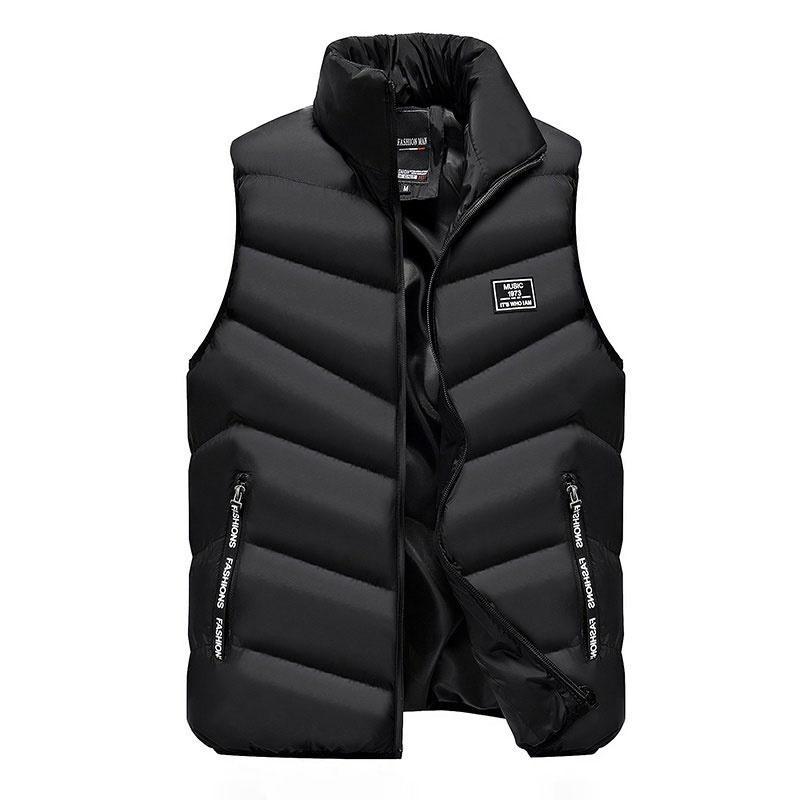 Chaqueta de los hombres del algodón del chaleco sólido de la manera del collar del soporte de la cremallera Chaleco masculino Outwear el tamaño grande M-4XL mangas de los hombres de invierno