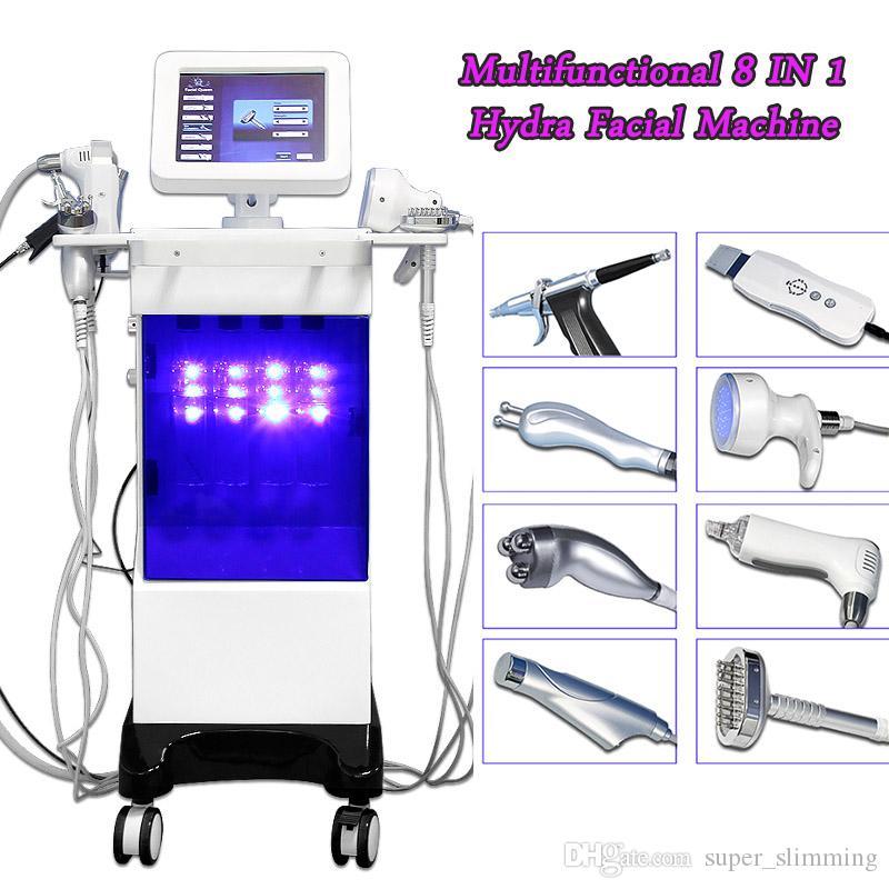 hydra facial 8 en 1 machine de dermabrasion courant laveur de peau à ultrasons Eau Dermabrasion Peel Microdermabrasion Facial Machine À Vendre