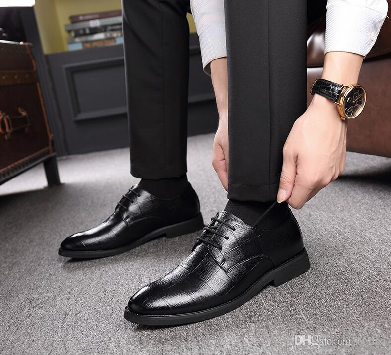 Herren-Leder-Schuhe Vier Jahreszeiten Explosions Anzug Schuhe Low-Cut-Geschäfts-Kleid-Schuh-Jugend Lederschuh Männer