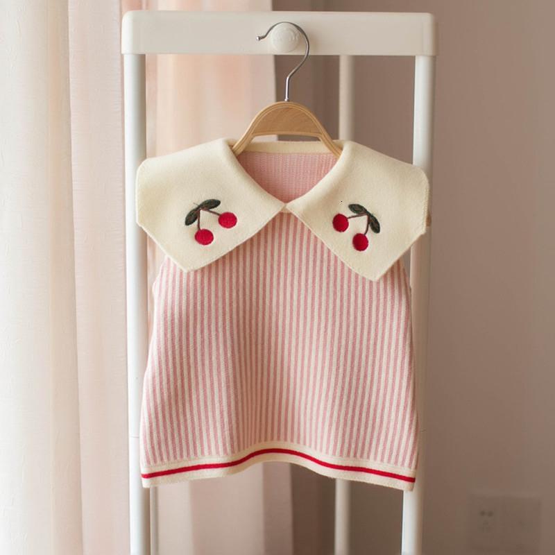 nueva primavera del niño de los niños de rayas Chalecos cereza bordado de los bebés de punto Chalecos Niños ropa de ponerse linda Tops MX191024