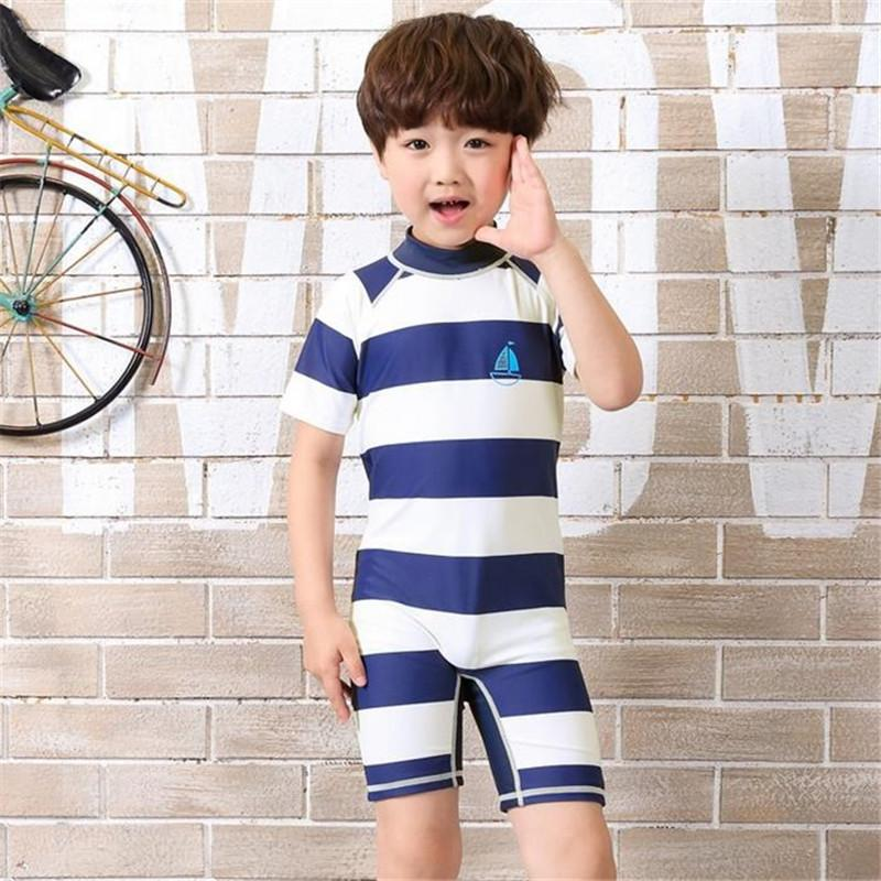 2020 Kore Yeni Gelenler Çizgili Erkek Güneş kremi Mayo Tek parça Çocuk Mayo Kısa Kollu Plaj Çocuk Mayo 62778
