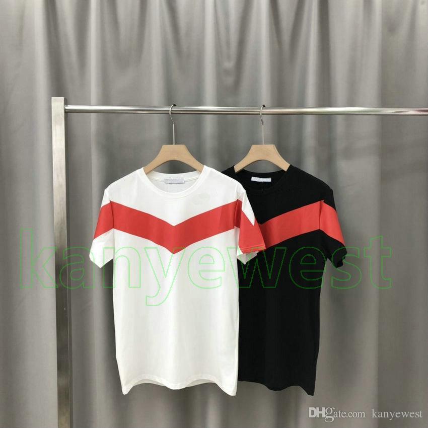 2020 Le nouveau concepteur de mode d'été des hommes T-shirt rayure épissage Vêtements T-shirt imprimé T-shirt de haute qualité à manches courtes Casual Hauts Tee
