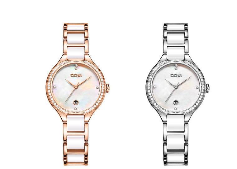 relógio de forma das mulheres clássicas de cerâmica relógio à prova d'água branco conjunto de diamantes movimento salgueiro folha estudante ponteiro do relógio G-1271