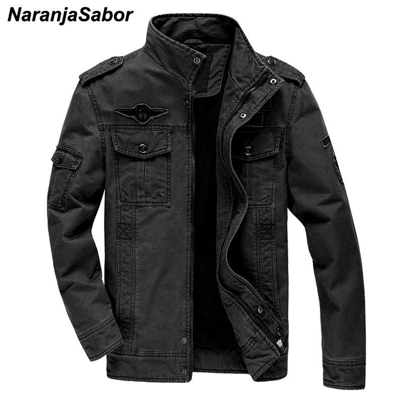 NaranjaSabor New Veste Hommes 2020 Automne Hommes Manteau de couleur unie Homme Mode Outwear militaire de grande taille 6XL Marque Vêtements N573 T200318