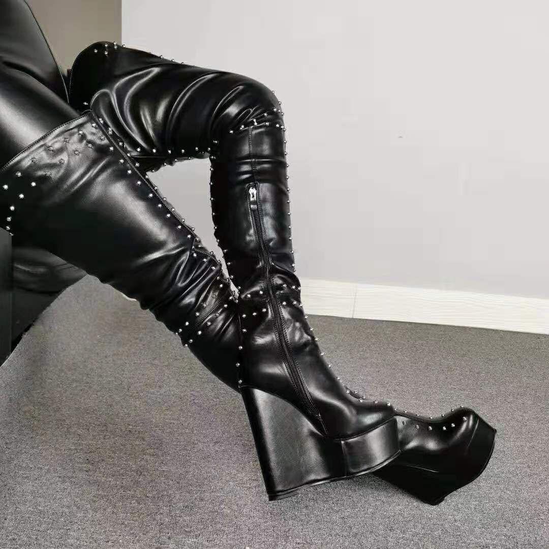 Zandina New Womens botas altas da coxa Rebites Spikes sobre o joelho botas Wadge Heel BFCM Vestido Moda botas longas sapatos D970