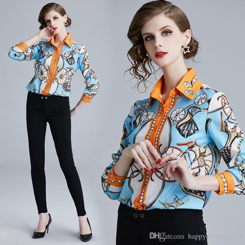 2019 Kalite Moda Pist Mavi Bluzlar Kadınlar Plus Size Retro Baskı Uzun Kollu Yaka Boyun Düğme Bayanlar Tasarımcı Gömlek Ofisi Şık Tops