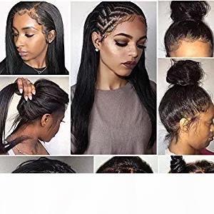 360 Frontal del merletto parrucche 180% Densità 360 del merletto dei capelli brasiliani del Virgin del merletto anteriore dei capelli umani parrucche per donne di colore (12inch dritto