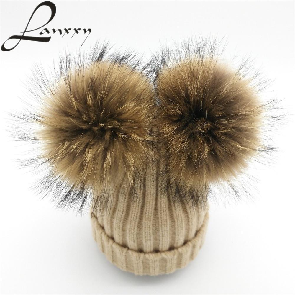 Lanxxy real de piel de visón Pompón la mujer sombrero de invierno gorros de lana de punto de algodón Sombreros dos pompones Skullies Gorros Bonnet niñas Mujer Cap MX191130