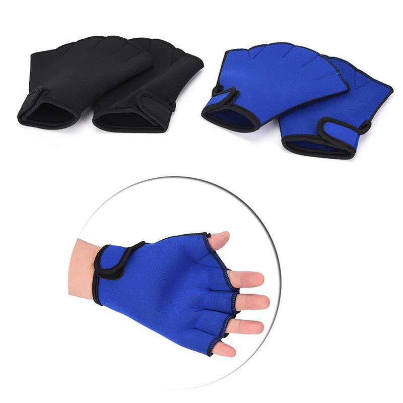 1 Pair Swimming Gloves Aquatic Fitness Water Resistance Training Paddle Fingerless Mitten Hand Tool Multi-sizes Aerobics Classes