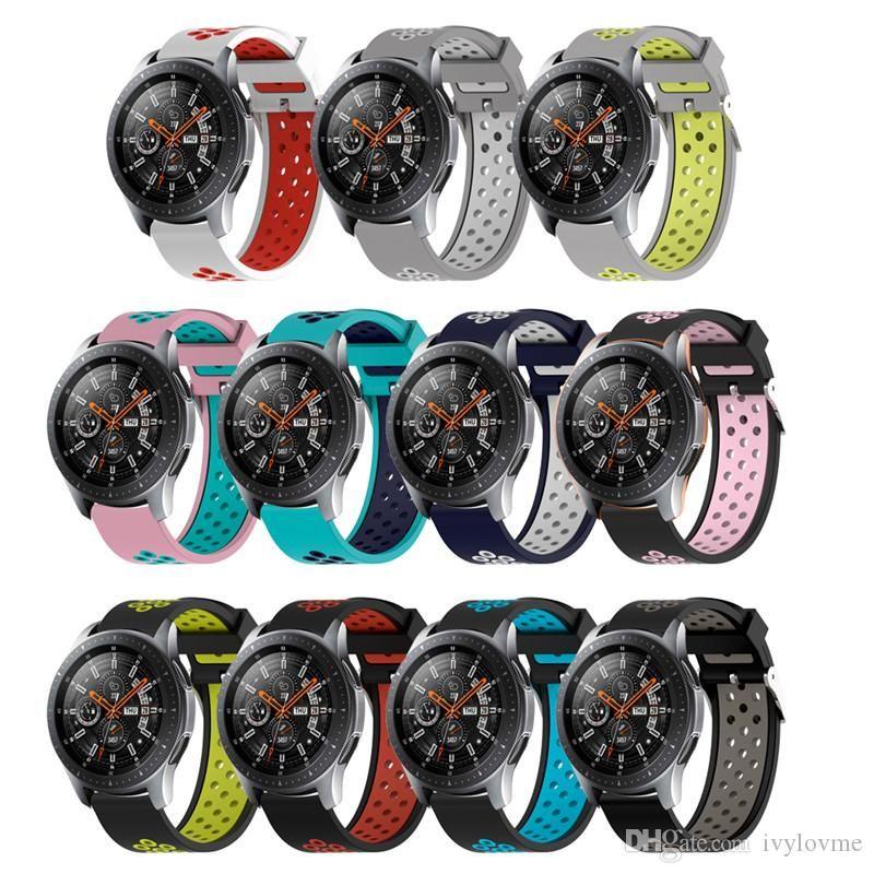 سيليكون WatchBands لسوار سامسونج غالاكسي لساعة سامسونج غالاكسي 42mm 46mm استبدال الساعات الرياضية wristStrap 20mm 22mm حار بيع