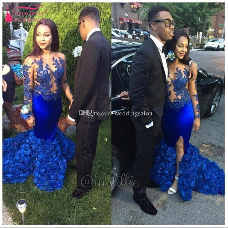 Royal Blue Mermaid Lace Prom Dresses Sheer Jewel Neck Long Sleeves Formal Dress Appliqued Plus Size Ruffled Satin Evening Gowns