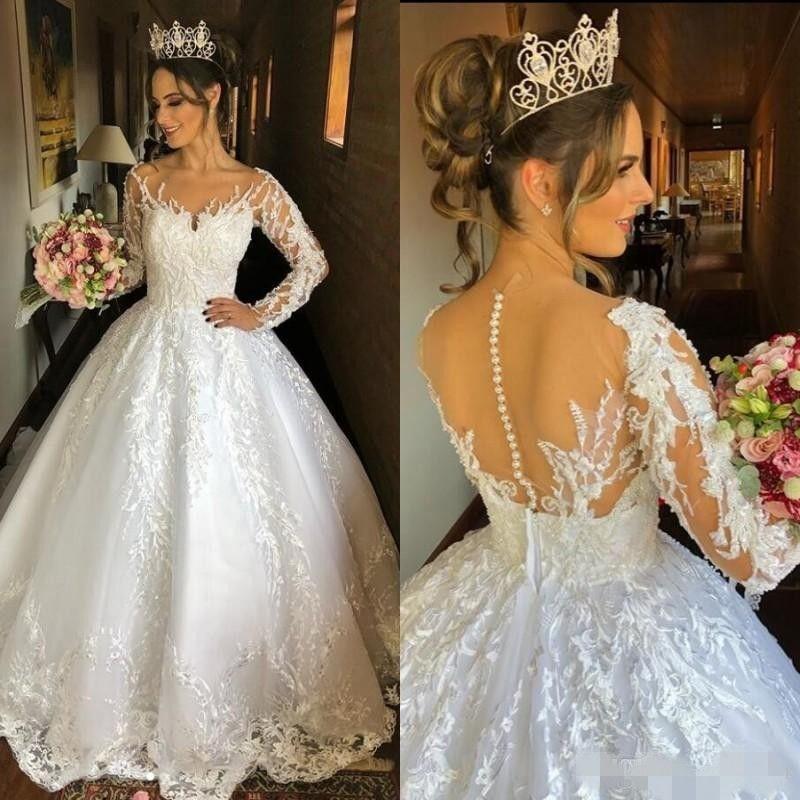 2020 manches longues robe de bal robes de mariée Scoop Sheer cou perles perles balayage train de mariage Robes de mariée Custom Made robe de Novia