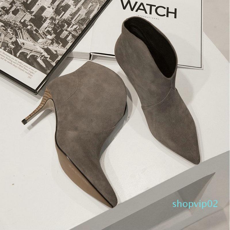 La venta caliente-Sianie Tianie 2019 primavera invierno del cuero genuino del ante finas botas de tacones altos para mujer botines corte del V mujeres de la moda