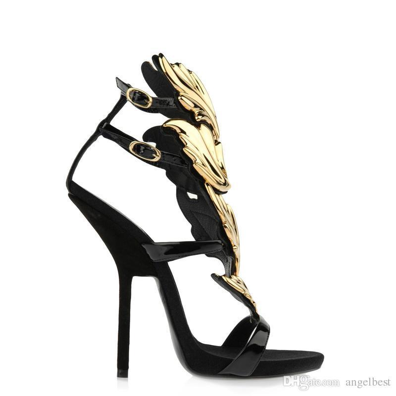 Nuevo diseño de marca sandalias de hoja zapatos con tacones altos mujer zapatos de verano de charol sexy vestido de fiesta sandalias