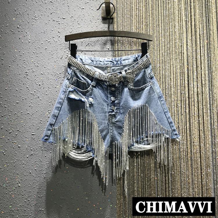 Estate europea 2019 New Hole Strappato vita alta Diamond Drilling catena corta Jeans Slim Jeans Shorts per le donne Shorts in denim