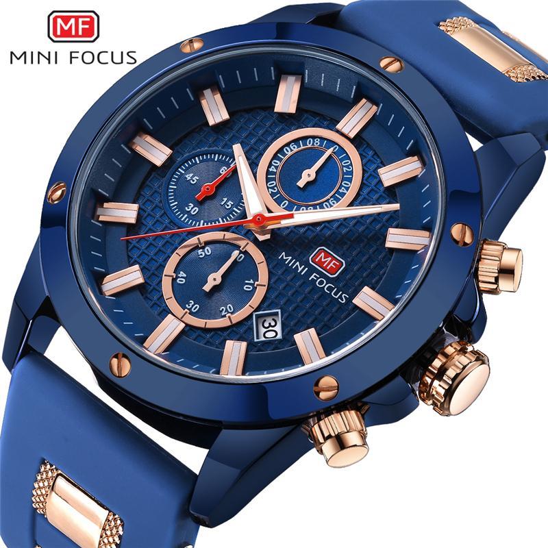 MINI FOCUS para hombre del reloj de los hombres del reloj de cuarzo resistente al agua deporte militar hombres de los relojes de lujo a estrenar Reloj Masculino Masculino Relógio azul LY191213