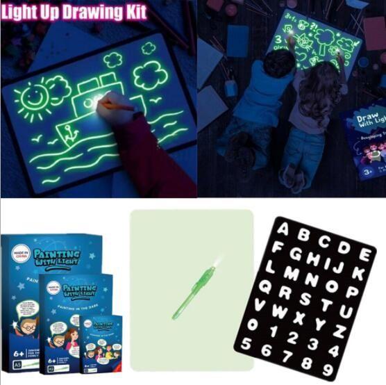 A3 A4 A5 LED luminoso Drawing Board Graffiti Doodle Escrever Desenho Tablet Magia Desenhar com dom Luz Fun fluorescente Pen brinquedo educativo