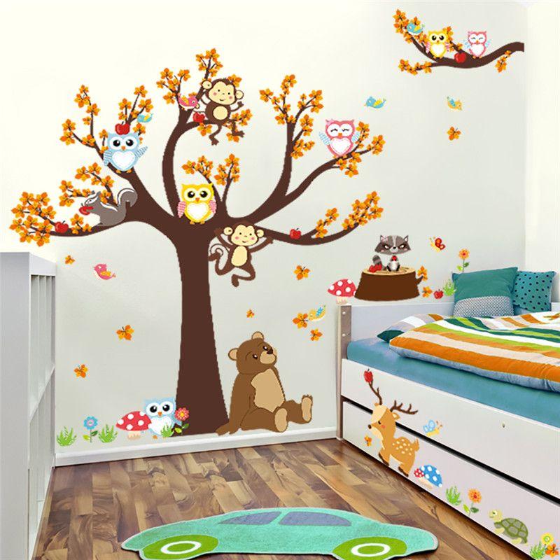 만화 숲의 나뭇 가지 동물 올빼미 원숭이 곰 사슴 벽 스티커 키즈 객실 소년 소녀 어린이 침실 홈 인테리어