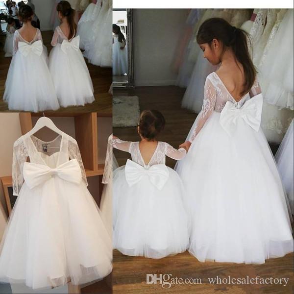 2020 dentelle robes fille fleur manches longues élégante princesse Jewel cou Bow Sash longues robes de soirée pour enfants Filles Robes de fête d'anniversaire