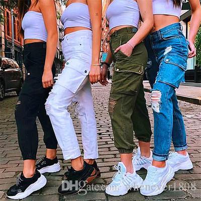 Pantalon crayon pour femme trou déchiré taille haute décontracté Streetwear Pants Blend Cotton Pantalon cargo P818