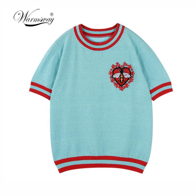 Warmsway Patrón de abeja Flores Apliques Crop Top Camiseta Suéteres Prendas de punto Top de verano 2019 Diseño de rayas de Corea B-103J190424