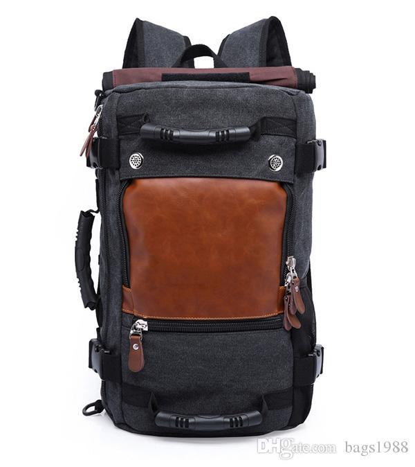 versão ocasional retro literária coreana do saco de ombro multi-função de viagem personalizado mochila casuais de grande capacidade mochila de lona dos homens