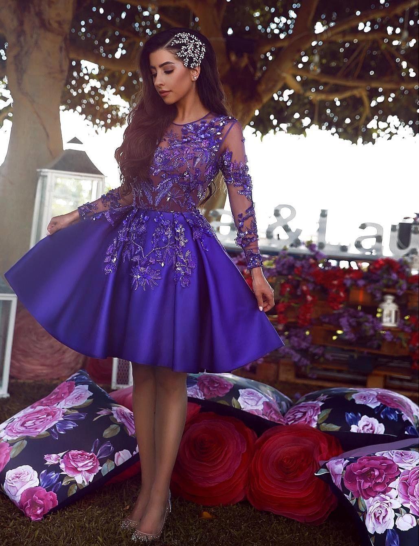 2019 Purple Elegant Short Lace Cocktail Dresses Jewel Neck Lace Applique Above Knee Length Prom Dresses Party Graduation Dress Vestidos Black Cocktail