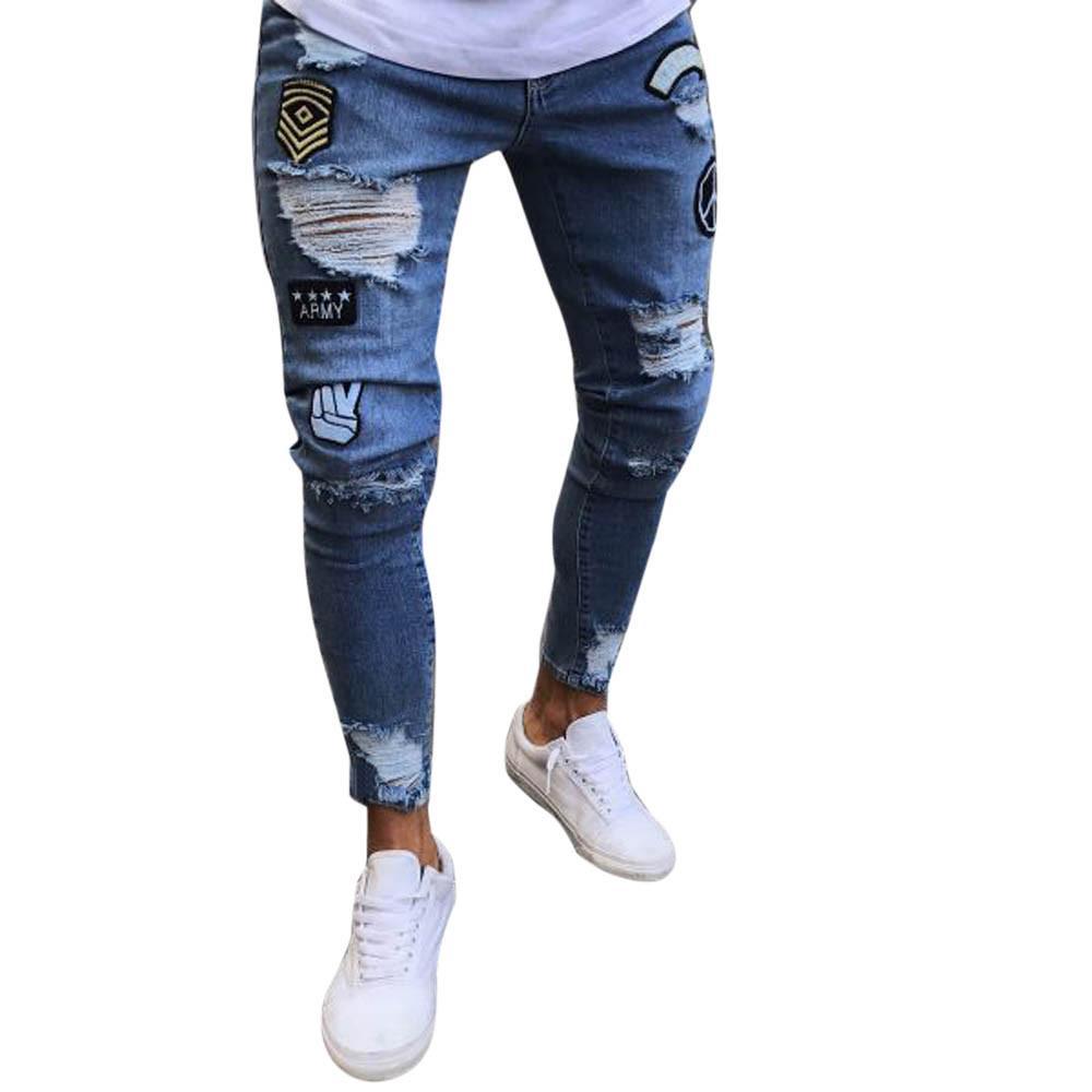 mejor servicio 3419a 1dd7a Compre Gran Tamaño 3xl Ropa De Hombre 2019 Pantalones De Agujero Pantalones  Para Hombre Hombre Estiramiento Denim Slim Zipper Jeans Pantalones Hombres  ...