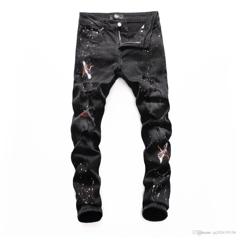 Único 2019 bordado patch de buraco quebrado lavado plissado jovens moda jeans magro pequeno perna da calça de locomotivas