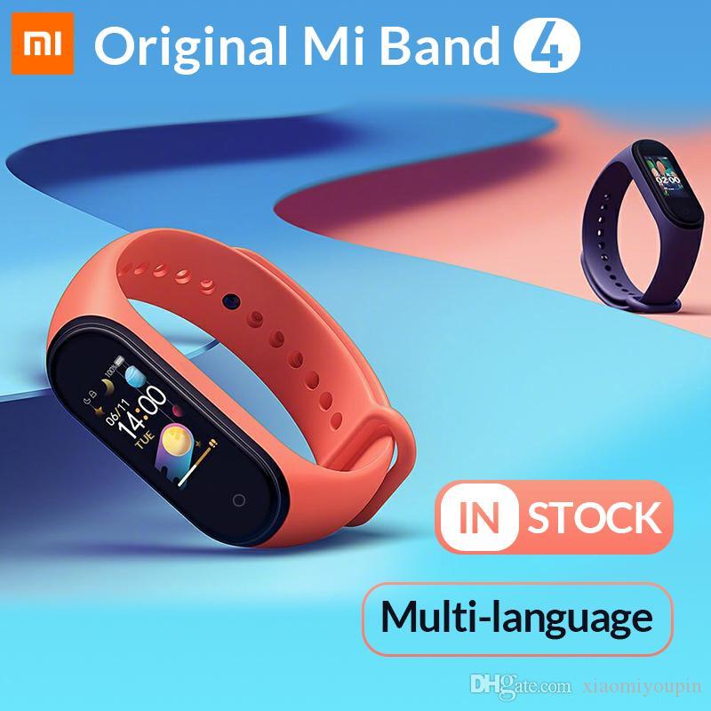 2019 reloj del perseguidor original de Mi Banda 4 pulsera inteligente Xiaomi la aptitud del monitor del ritmo cardíaco del sueño 0.95 pulgadas de pantalla OLED Band4 Bluetooth