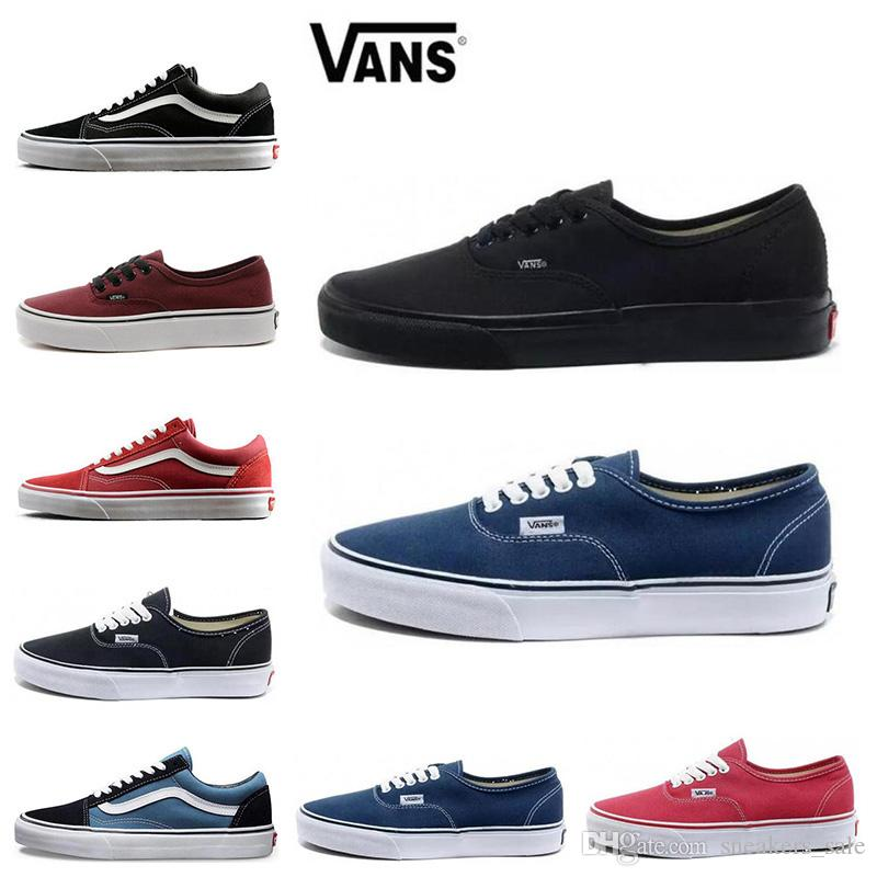 2019 Classic Vans Old Skool Men Women Casual Shoes Black White Blue Red  Skateboard Black White Canvas Skate Sneaker Size 36 44 From Sneakers_sale,