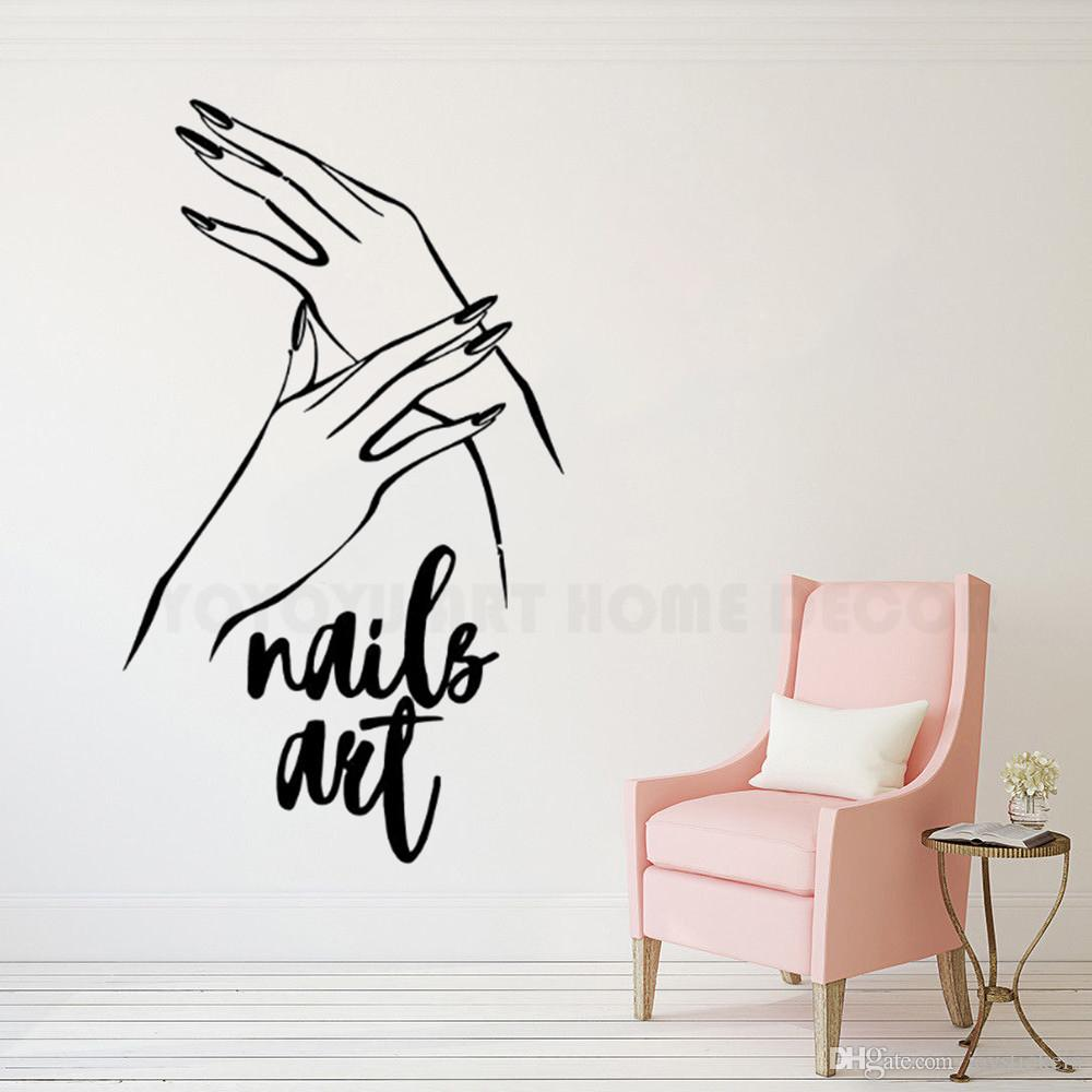 Nails Art Vinyl Wall Sticker Nail Polish Wall Mural Manicure Pedicure Wall Sticker New Design Beauty Salon Window Decor