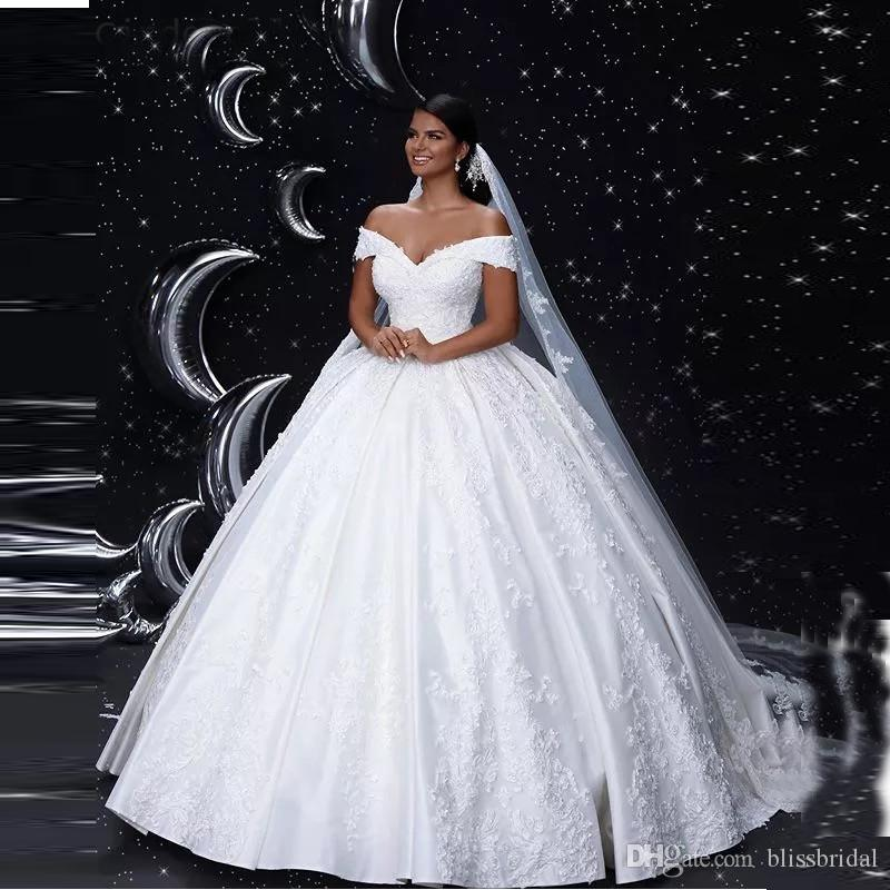 2Cinderella Off The Shouder Ball Gown Wedding Dresses Up-Lace Back Ruffle Applique Bridal Gowns Wedding Dresses 2019 New Arrival