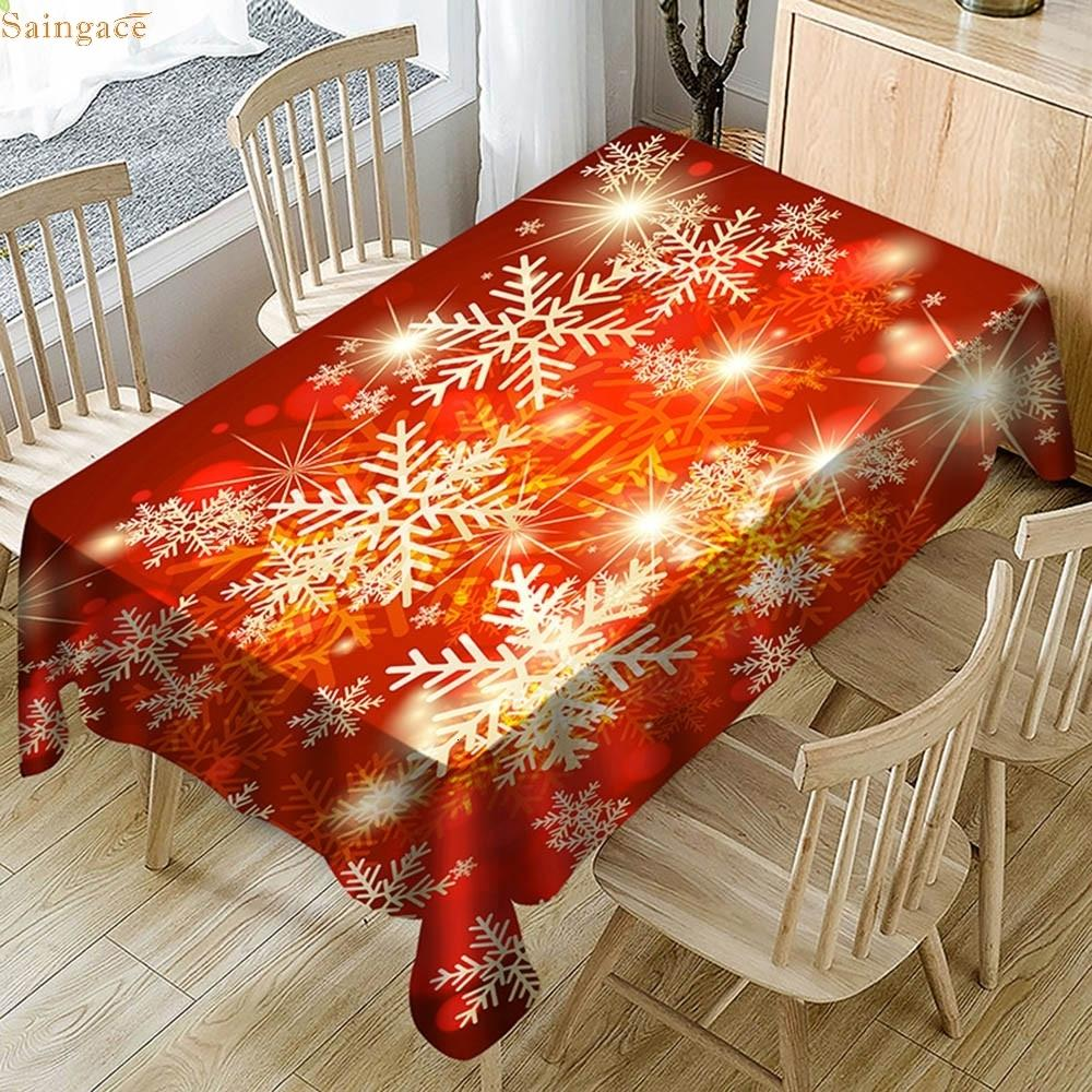 Saingace Laranja Natal Toalha Dustproof Tampa Tabela X-Mas graças Jantar Toalha de Mesa Partido Home 3D Decor OEM N T191112