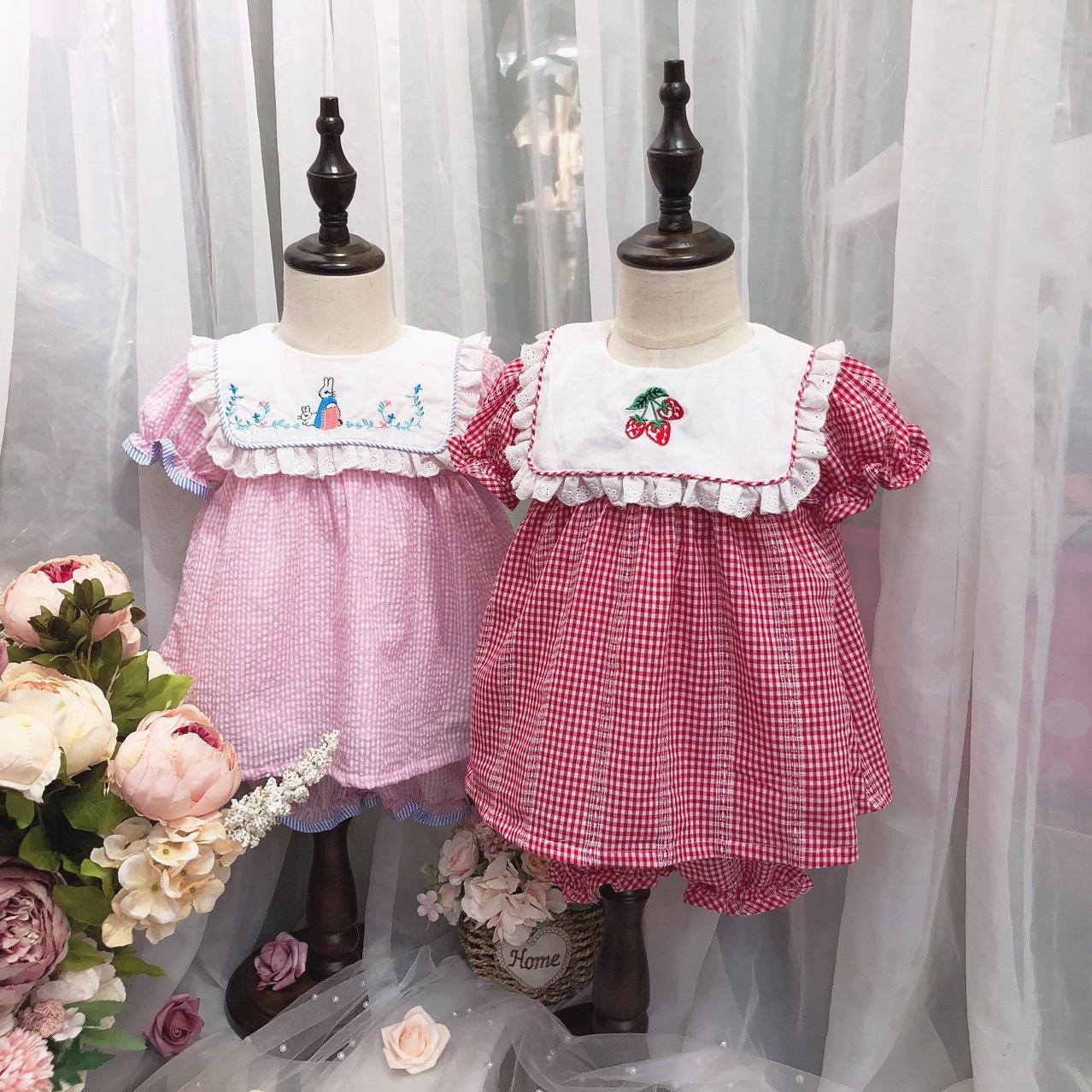 Baby Girls Clothing Kids Summer plaid rabbit strawberry embroidery design shirt + short clothing sets summer princess clothing sets