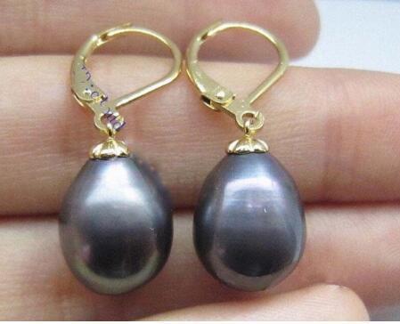 shipiing libre Hermosa 11-13mm Mar del Sur negro 925silver pendientes de perlas