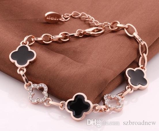 Nuovo braccialetto fiore placcato oro 10pcs / lot per donne fortunato fiore delicato Bracele