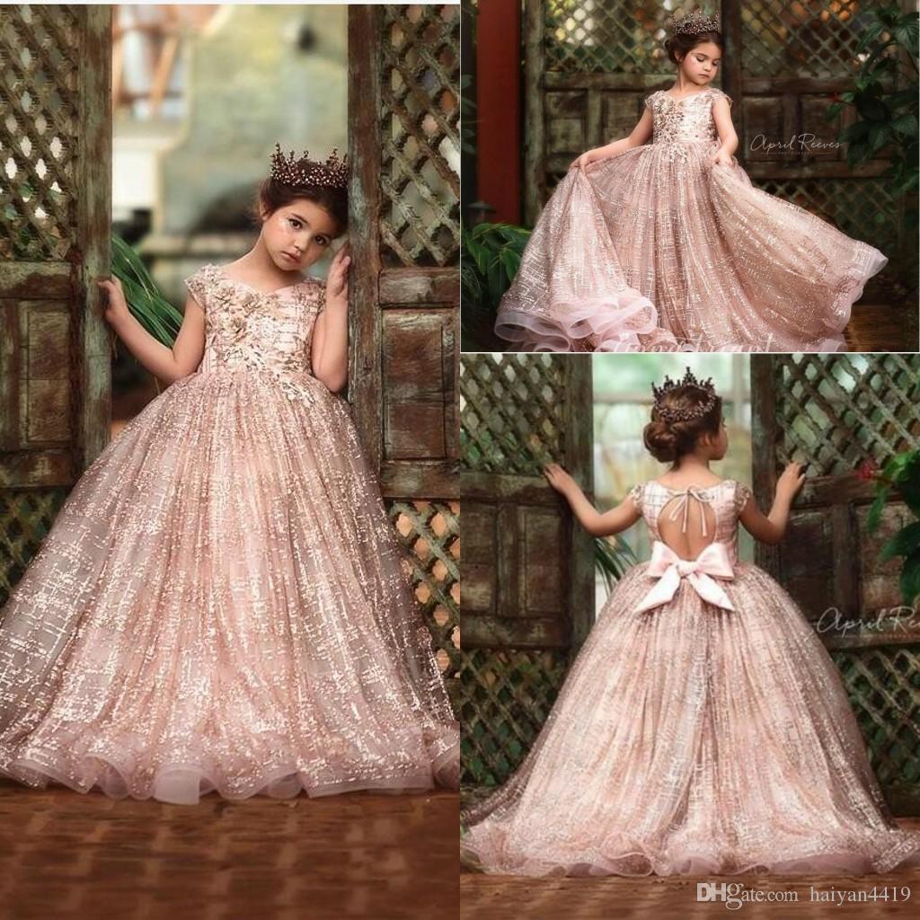 2020 새로운 로즈 골드 sequined 꽃 소녀 드레스 결혼식 레이스 장식품 활 민소매 여자 미인 드레스 아이 communion 가운