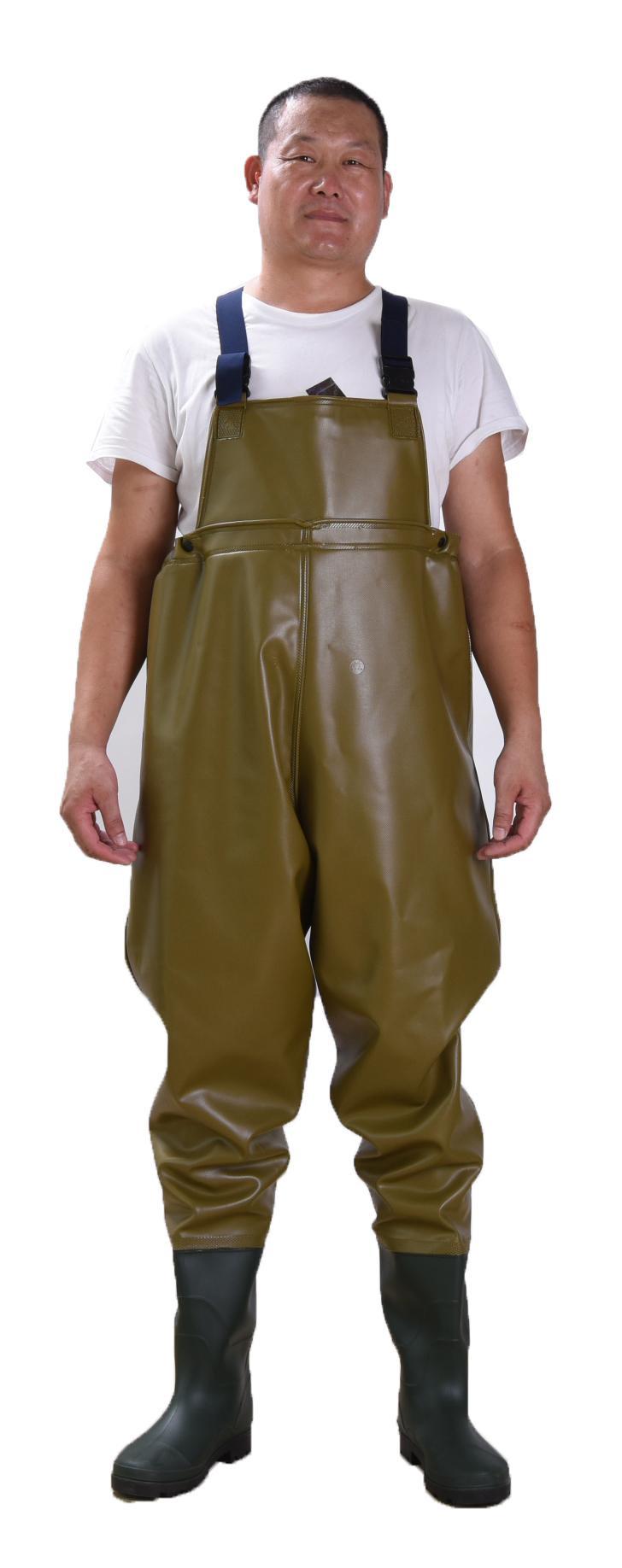 FQW1910 Safty poitrine / taille échassier protection eau travail à l'extérieur Pêche Wading 0.85mm Kaki Pantalon double-PVC avec Bottes de pluie