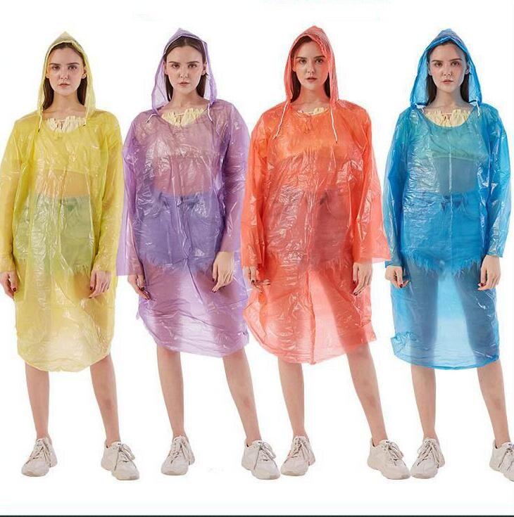 Escudo desechables impermeables PE viaje poncho de lluvia ropa impermeable portátil a prueba de agua al aire libre de desgaste OOA7876 Una época de lluvia
