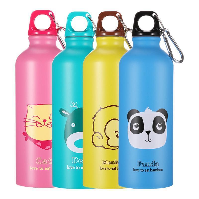 500ml portátil de acero inoxidable animal encantador de viajes deportes al aire libre recorrido de la botella que acampaban frío Hervidor botellas de agua lindo