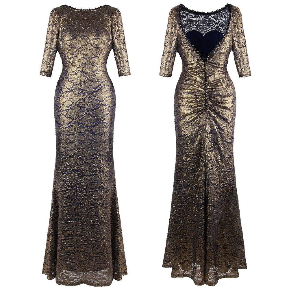 Angel-fashions Women Round Neck Lace V Backless Beading Pearl Half Sleeves Mermaid Sheath Maxi Gold Evening Dress Party Gown 415