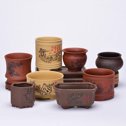 Viola sabbia bonsai vaso di fiori in ceramica grossolana carnosa calamo vaso colore Wenzhu mano Yixing pollice coperta piccola CJ191226 creativo