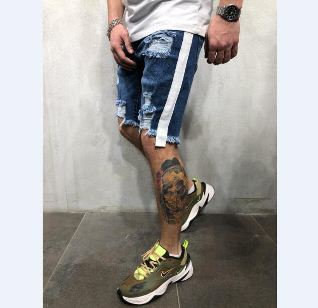 Verano nuevos pantalones cortos de mezclilla para los hombres moda casual cinta elástica lavada agujero azul pantalones vaqueros cortos pantalones de mezclilla masculina ropa